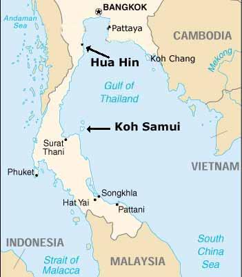 Koh Phangan Thailand Map.Koh Samui Hua Hin Cha Am